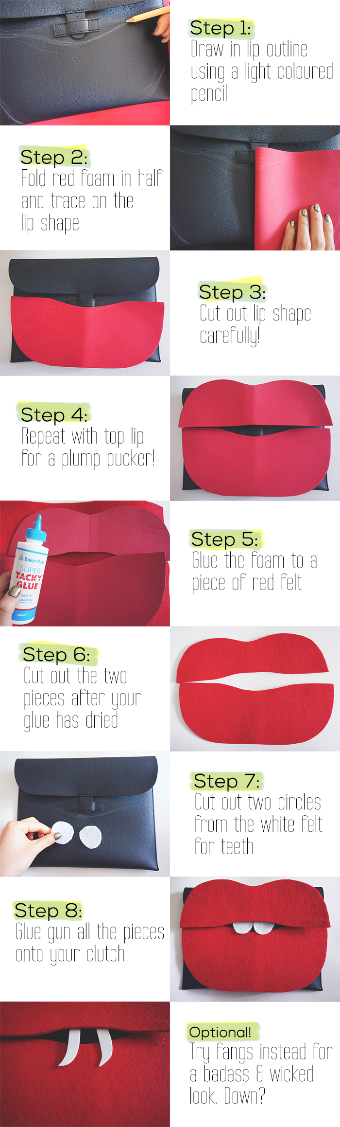 lip clutch, DIY, tutorial, slice of cyn